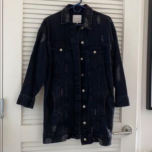 Zara destroyed long denim jacket